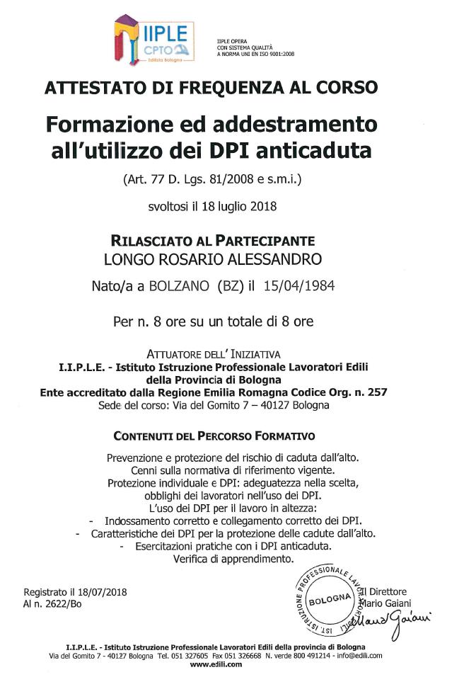Formazione e addestramento all'utilizzo di DPI anticaduta